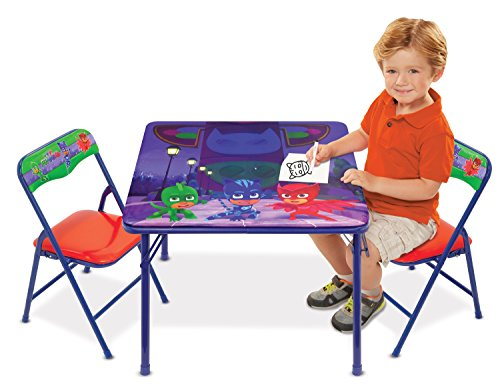 (Disney PJ Masks Superhero Team Activity Table Set with 2 Chairs Play Set with Two Chairs)