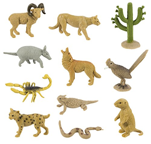 Prairie Animals - Safari Ltd Desert Bulk Bag - 48 Realistic Hand Painted Figurines - Includes Horned Lizard, Road Runner, Scorpion, Rattle Snake, Coyote, Big Horn Ram, Bobcat, Armadillo, Mountain Lion and Prairie Dog