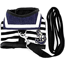 SMALLLEE_Lucky_Store Pet Clothes for Pets Striped Sailor Vest Harness Leash Set Mesh Padded Lead Black M