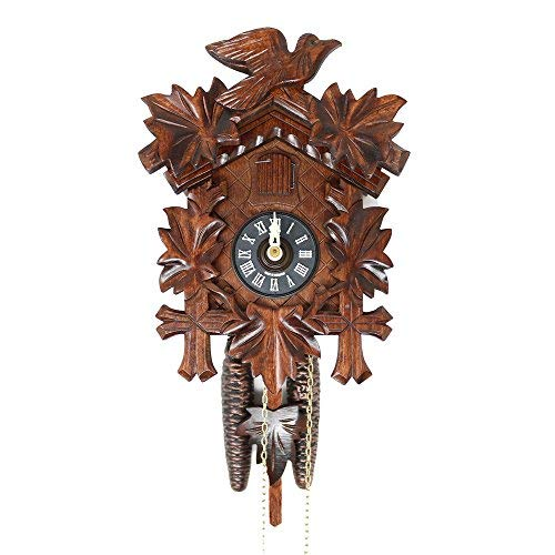 Image of Home and Kitchen Sternreiter BIRD AND LEAF Model 1200 Black Forest Mechanical Cuckoo Clock, Linden Wood with Half and Full Hour Strike