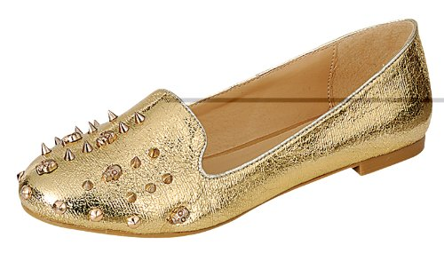 Reneeze CAROL-03 Womens Glitter Metallic Studs and Skulls Low Heel Loafers, Color: GOLD, Size: 6.5