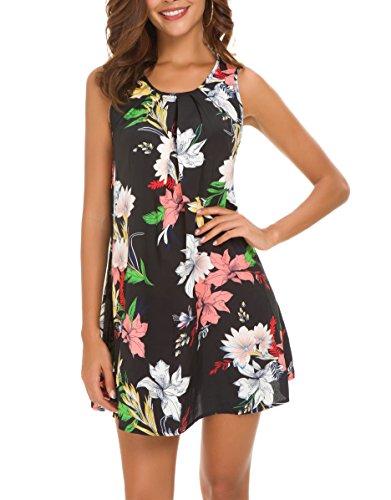 Reyokale Women's Sleeveless Pleated Floral Chiffon Casual Loose Mini Tank Dress Black XL