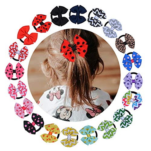 20 Colors Available 1.96Inch Hair Bow Elastic Hair Bands Ponytail Hair Holder Bows Girls Hair Accessories Elastic Bobble Boutique Bows