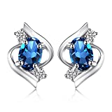 JewelryPalace Oval 1.1ct Natural London Blue Topaz Stud Earrings 925 Sterling Silver