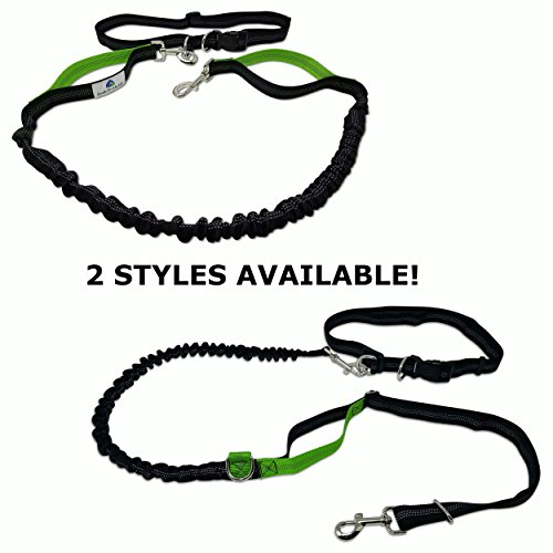PUPPERZ Hands Free Dog Leash with Dual Easy Grab Padded Handles   Padded Waistband   Perfect for Running, Walking, Hiking & Jogging   Strong and Durable Enough For Your Medium to Large Dog