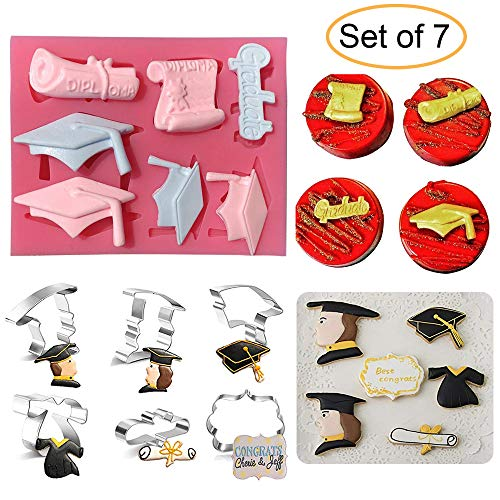 Graduation Silicone Fondant Mold & 6Pcs Cookie Cutters 2019 Graduate Party Cake Cupcake Topper Decoration Supplies (Graduation Cap, Gown, Diploma, Male/Female Doctor and Plaque Frame)