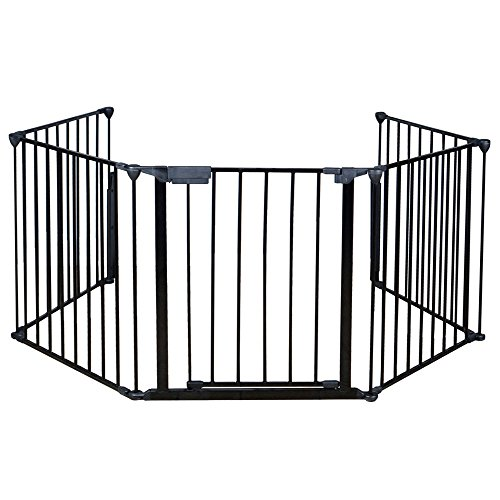 Teekland Fireplace Fence, 5 Panels Baby Safety Gate/Guard with Door& BBQ Metal Fire Gate (Gate 5 Pet Panel)