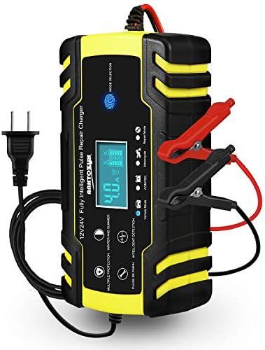 HAUSPROFIバッテリー充電器 バイクバッテリー充電器 12V/24V LEDランプ逆接続/ショート/過電圧/過電流保護 メンテナンス充電器 バッテリーチャージャー 自動車 PSE認証 バイク用 日本語取り扱い説明書