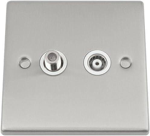 Satin//Chrome Brossé Double prise de courant blanc Inserts plaque murale