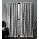 Nicole Miller Treillage Woven Blackout Hidden Tab Top Curtain Panel, Dove Grey, 52x96, 2 Piece