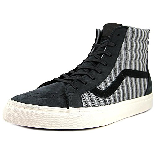 Vans Mens Sk8-Hi Zip CA Italian Weave and Nubuck High-Top Skateboarding Shoe Black