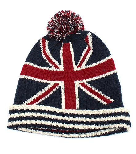 Knitted Beanies Hat BRITISH Flag Theme with Pom Pom, Super Cute!