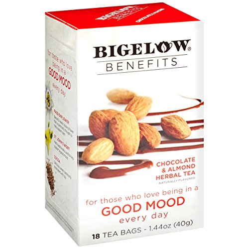 - Bigelow Benefits Good Mood Chocolate and Almond Herbal Tea Box of 18 Teabags (Pack of 6) Caffeine-Free Individual Herbal Tisane Bags, for Hot Tea or Iced Tea, Plain or Sweetened with Honey or Sugar