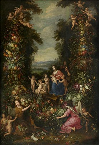 Oil Painting 'Pieter Van Avont,The Holy Family Surrounded By A Garland Of Flowers, Vegetables, Fruit,1600-1652' 20 x 29 inch / 51 x 74 cm , on High Definition HD canvas - Website Beach Blizzard