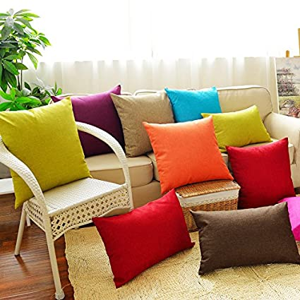Huacel Solid Multiple Color Simple Linen Throw Pillow Cases Sofa Cushions Pillowcases Back Office Car Bedroom Cushions Pillow Covers 12x18 Inch