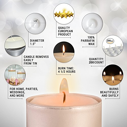 Ner Mitzvah Tea Light Candles - 200 Bulk Pack - White Unscented Travel, Centerpiece, Decorative Candle - 4.5 Hour Burn Time - Pressed Wax by Ner Mitzvah (Image #1)