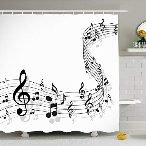 (Ahawoso Shower Curtain 60x72 Inches Key Clef Music Notes On Solide White Crotchet Treble Harmony Pattern Sheet Staff Design Bass Waterproof Polyester Fabric Bathroom Curtains Set with Hooks )