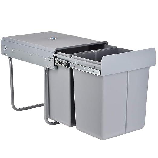 LENTIA Cubo Basura de Cocina de 40 litros (20L+20L), Cubo de Basura de 48 x 34.2 x 41.8 CM, Basura Cocina, Separación de Basuras, Reciclaje de ...