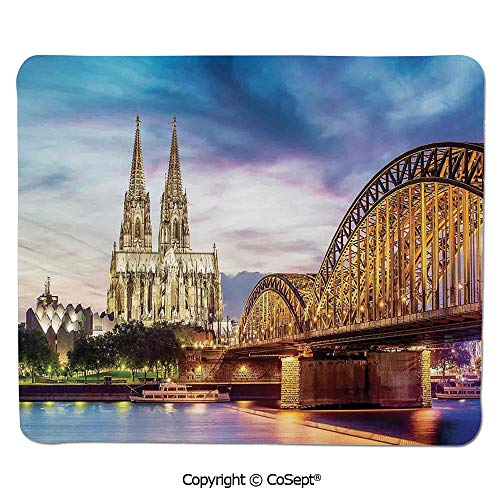 Premium-Textured Mouse pad,Illuminated Dom in Cologne Old Bridge and Rhine at Sunset European Culture Print,Dual Use Mouse pad for Office/Home (15.74
