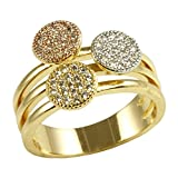 Impression Collection Circle Round Shaped Rings Wedding Party Statement Micro Pave Clear CZ Cocktails Gold Plated Size 6-9 (Three Tone, 11)