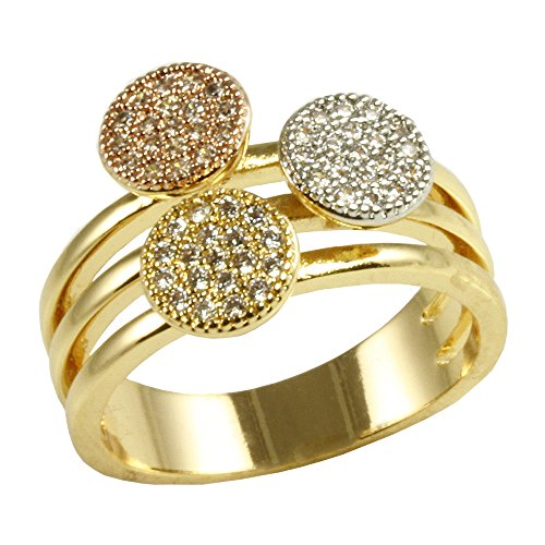 Circle Round Shaped Rings Wedding Party Statement Micro Pave Clear CZ Cocktails Gold Plated Size 6-9 (Three Tone, 9)