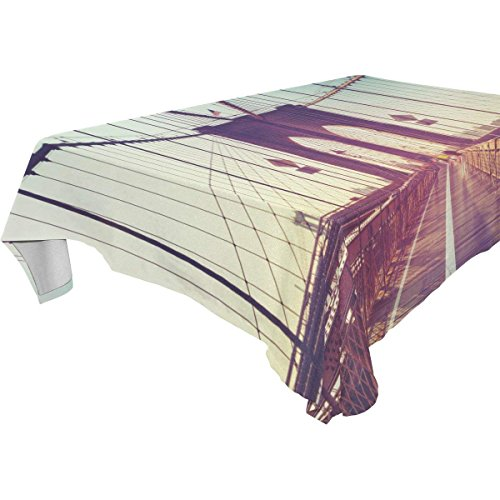 Rectangular Bridge in New York City Tablecloth Table Cloth Cover for Home Decor Dinner Kitchen Party Picnic Wedding Halloween Christmas 60 x 120 -