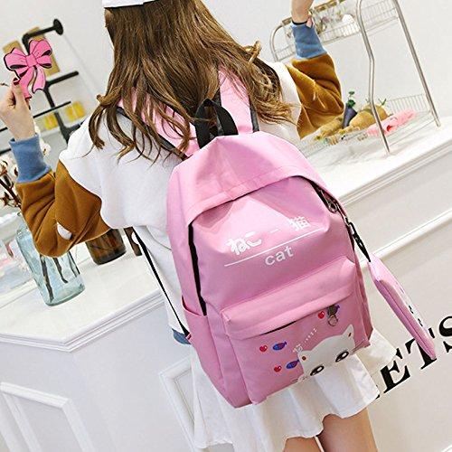 Espeedy 2 Piezas Coreano de la manera del estudiante del morral adorable del gato de la impresión del bolso del hombro de la cremallera de las niñas bolsas de escuela rosa
