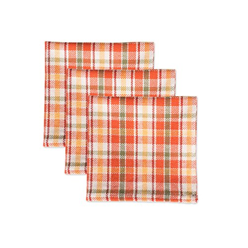 """DII Cotton Heavyweight Plaid Dish Cloths, 12 x 12"""" Set of 3, Drying and Cleaning Kitchen Bar Towels for Everyday Cooking and Baking-Harvest Garden from DII"""