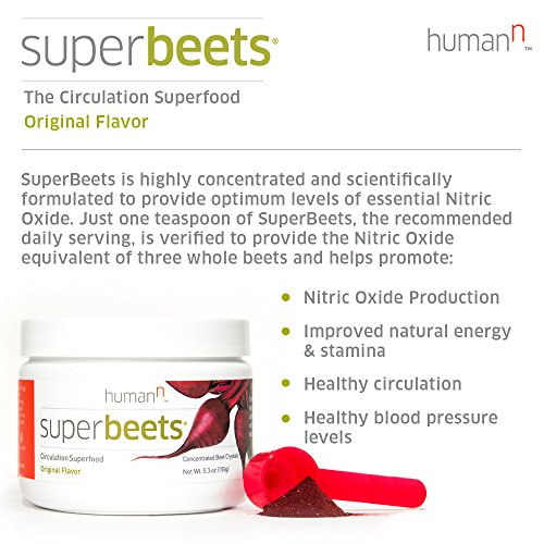SuperBeets Circulation Superfood Premium Nitric Oxide Booster Non GMO Nitrate Rich Beet Root Powder Original Flavor 5 Ounce 30 Servings
