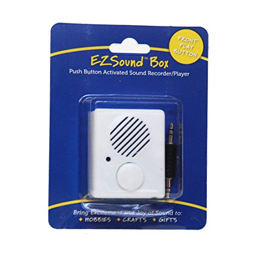 (EZSound Box - Front Play Button for Personal Messages, Favorite Tunes, Stuffed Toys, Science Projects, Hobbies, Craft Projects, Talking Displays, etc - 200 seconds - Rerecordable thru Audio Port)