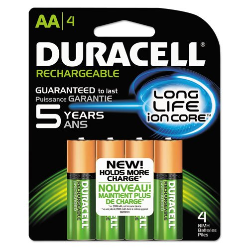ble NiMH Batteries with Duralock Power Preserve Technology, AA, 4/Pack NLAA4BCD (DMi PK (Duracell Recharge)