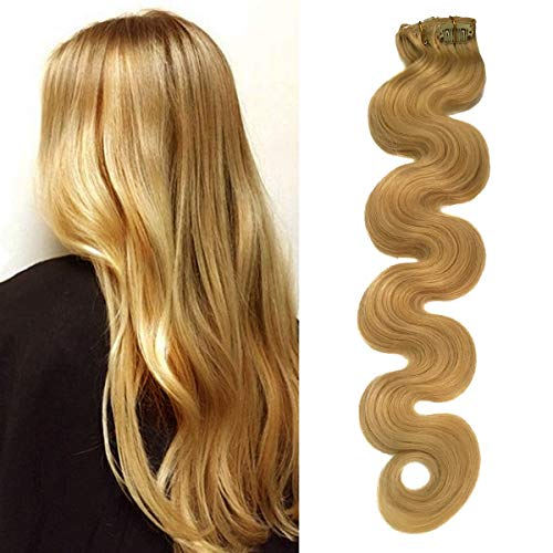 Wavy Real Remy Clip in Human Hair Extensions Honey Blonde #24 Full Head Brazilian Virgin Hair Body Wave Double Weft Clip Hair Extension 7 Pieces 70g -
