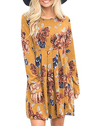 Junior Spring Dresses (Women's Casual Floral Round Neck Long Sleeve Tunic Pleated Swing Midi T-Shirt Dress)