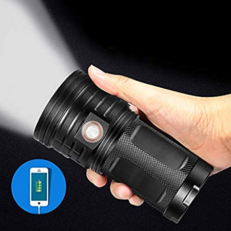 Hiking Water-Resistant 7200LM 3 Modes Super Bright Tactical Torch with USB Input /& USB Output for Camping SecurityIng USB Rechargeable 18 LEDs Flashlight Gift-giving Battery Not Included EPCDirect Emergency