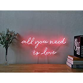 All You Need Is Love Real Glass Neon Sign For Bedr...