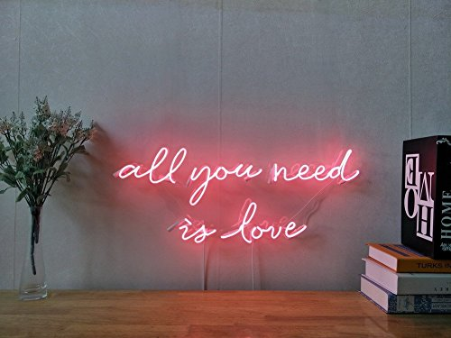 All You Need Is Love Neon Sign For Bedroom Garage Bar Man Cave Room Decor Handmade Artwork Visual Art Dimmable Wall Lighting Includes Dimmer