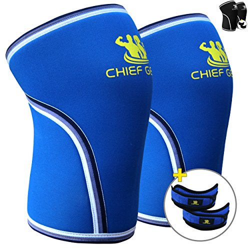 Knee Sleeve Neoprene 7mm (1 Pair) with FREE Adjustable Patella Knee Brace (1 Pair) By Chief Gear - Knee Support, Protects Patella, Pain Relief for Weight Lifting, Gym - Both Women & Men (Large)