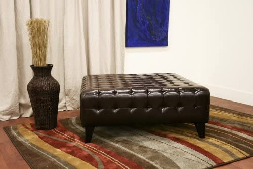 Baxton Studio Pemberly Dark Brown Bonded Leather Square Ottoman
