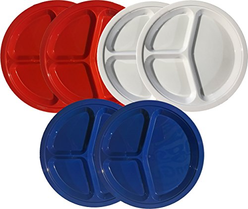 Plastic 3 Compartment Divided Reusable/Disposable Plates - Large - 10.25