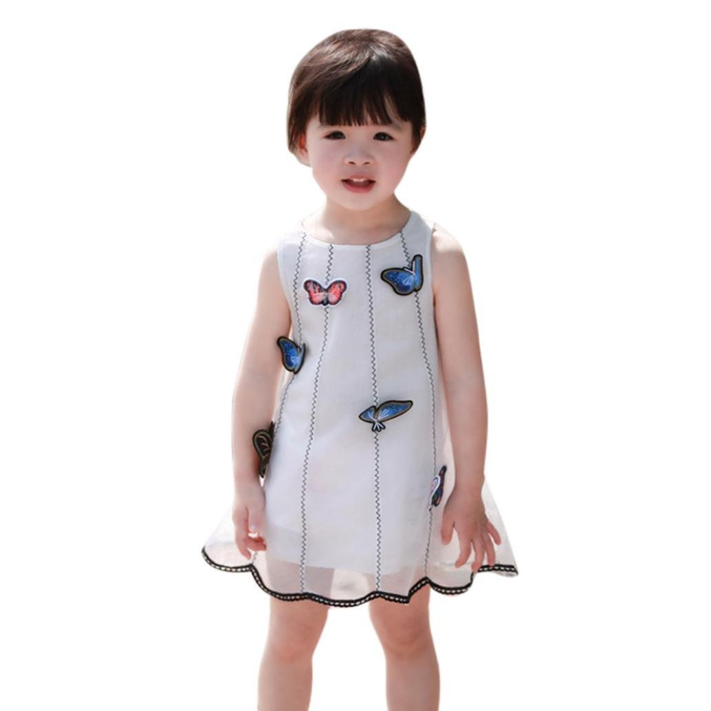 Hemlock Little Girl Butterfly Tutu Dress Sleeveless Summer Dress (6T, White)