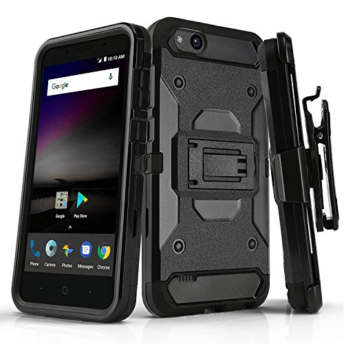 Phone Case for [ZTE Avid 557 (Consumer Cellular)], [Tank Series][Black] Shockproof Defender Cover with [Kickstand] & [Swivel Belt Clip Holster] for ZTE Avid 557 (Consumer Cellular)