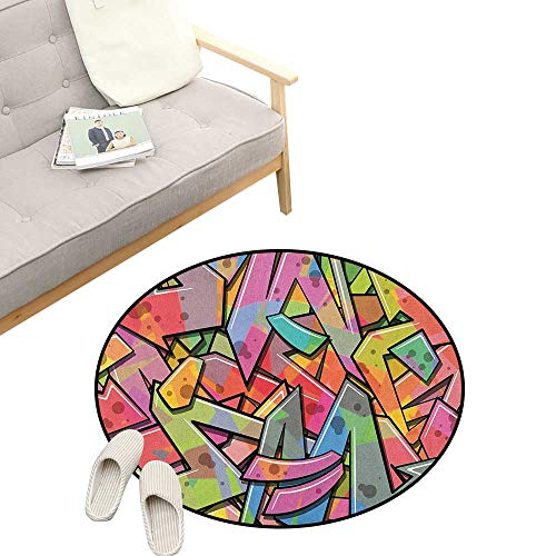(Colorful Round Rug Living RoomArt Deco ,Abstract Grunge Arrows Graffiti Inspired Spray Paint Style Figures Illustration, Playroom Super Soft Carpet Floor Mat 23