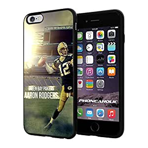 """NFL Green Bay Packers Aaron Rodgers, Cool iPhone 6 Plus (6+ , 5.5"""") Smartphone Case Cover Collector iphone TPU Rubber Case Black"""