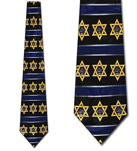 Menorah and Star of David Tie - Men's Hanukkah (David Necktie)