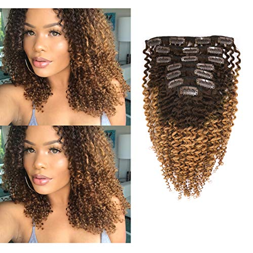 Anrosa Curly Extensions Clip in Ombre Kinkys Curly Hair Extensions 3B 3C Human Hair Thick Hair Extensions Virgin Remy for African American Black Women #1B/27 Brown Blonde 12 Inch 120g (Natural Hair Color Products For African Americans)