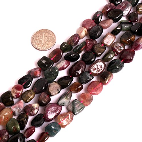 Multi Colored Tourmaline Earrings (7x9-10x12mm Natural Semi Precious Freeform Baroque Multicolored Tourmaline Gemstone Beads for Jewelry Making Strand 15