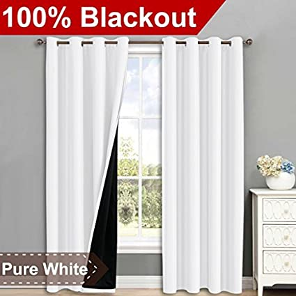 NICETOWN 100 Blackout Window Curtain Panels Heat And Full Light Blocking Drapes With Black