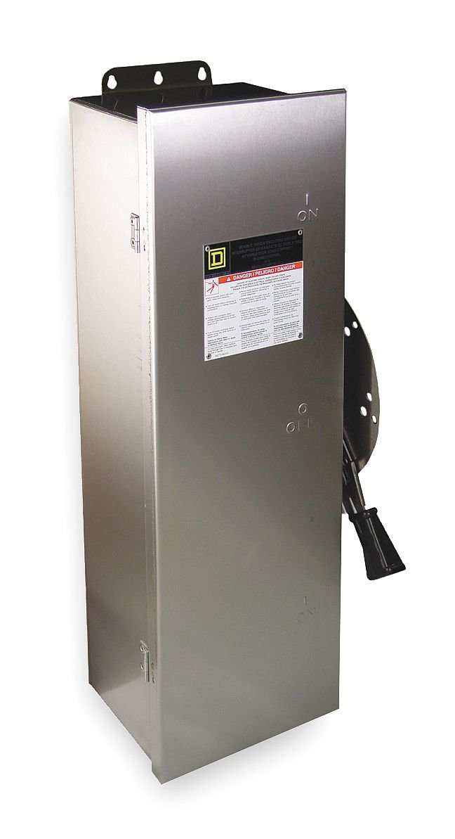 Square D - H223DS - Safety Switch, 4, 4X, 5 NEMA Enclosure Type, 100 Amps AC, 15 HP @ 240VAC/DC HP