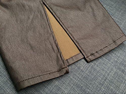 YiLianDa Mujeres Faldas Cortas Elástico Imitación Piel Atractiva Cintura Alta De Cadera Marrón