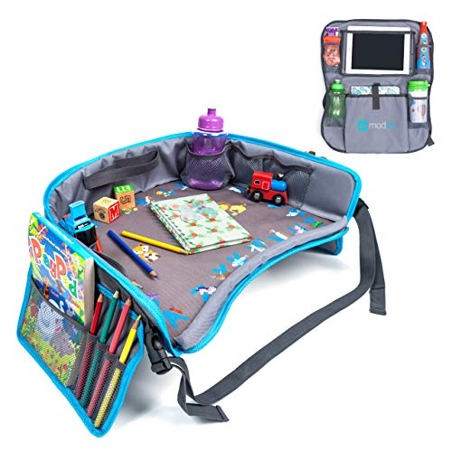 Kids Travel Tray | Bundle with | Bonus Back Seat Car Organizer by Moditty - Activity Play Table, Tablet Holder for Toddlers in Car Seats, Airplanes, Strollers (Blue)